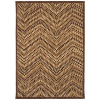 Aboriginal Lines Dark Brown Area Rug (5'5 x 7'9)