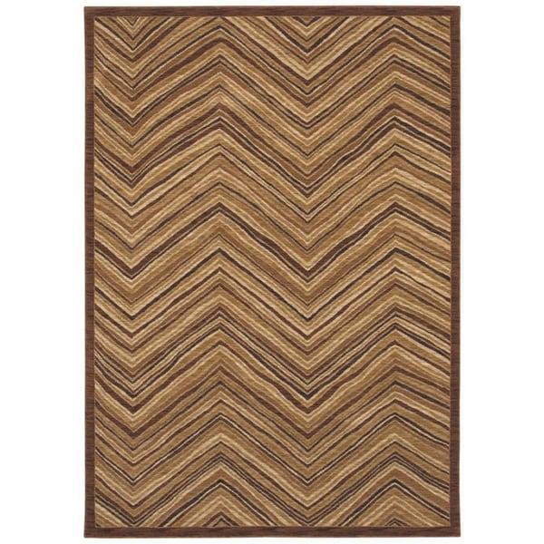 Aboriginal Lines Dark Brown Area Rug (5'5 x 7'9)