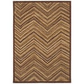 Aboriginal Lines Dark Brown Area Rug (7'9 x 10'10)