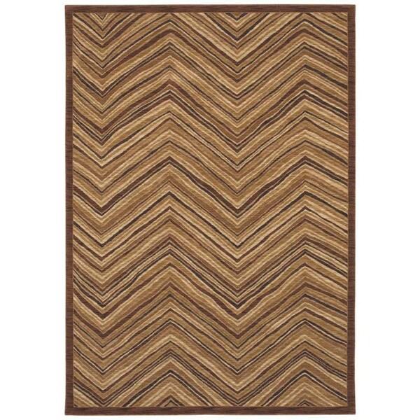 Aboriginal Lines Dark Brown Area Rug (7'9 x 10'10)