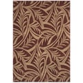 Abstracted Leaf Cranberry Area Rug (3'6 x 5')