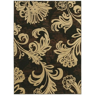 Bahama Bloom Black Area Rug (5'5 x 7'9)