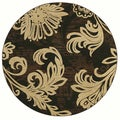 Bahama Bloom Black Area Rug (7'9 Round)