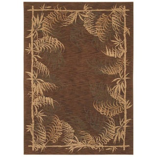 Tommy Bahama Bengali Border Dark Brown Rug (5'5 x 7'9)