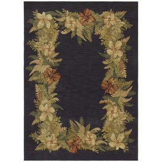 Tommy Bahama Border Bouquet Navy Blue Rug (2'6 x 7'9)
