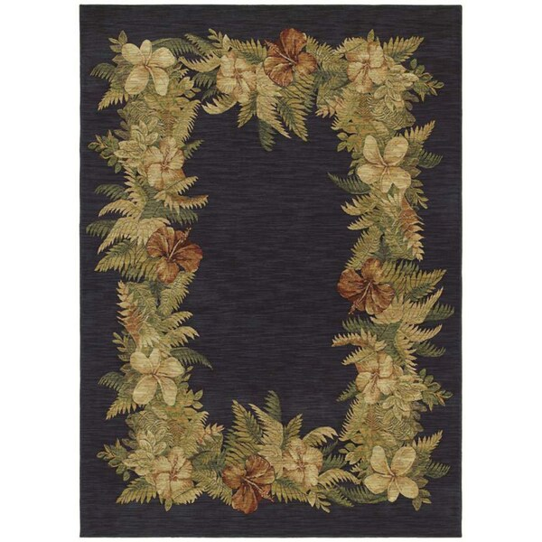 Tommy Bahama Border Bouquet Navy Blue Rug (5'5 x 7'9)
