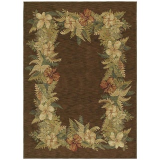Tommy Bahama Border Bouquet Dark Brown Rug (2'6 x 7'9)