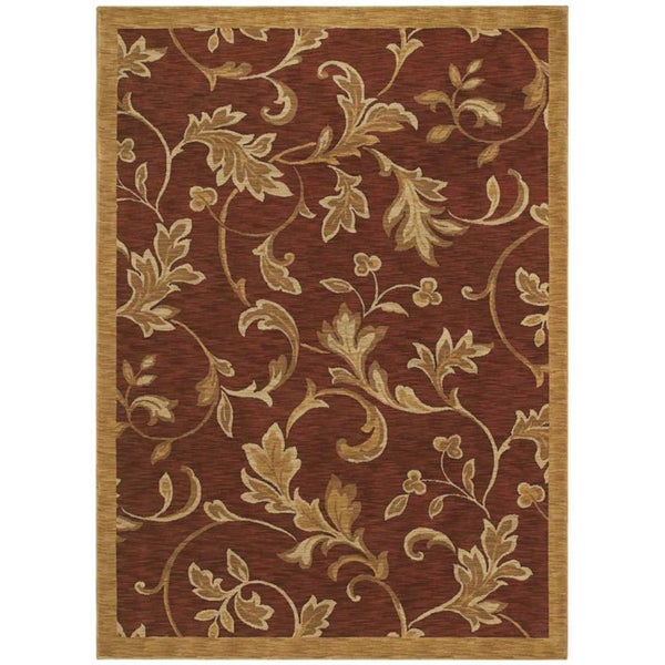 Tommy Bahama Home 'Garden Gate' Cranberry Rug (5'5 x 7'9)