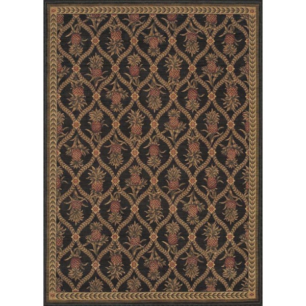 Tommy Bahama 'Lotsa Pineapples' Black Rug (2'6 x 11'5)