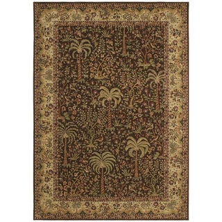 Tommy Bahama 'Monaco Palms' Dark Brown Rug (5'5 x 7'9)
