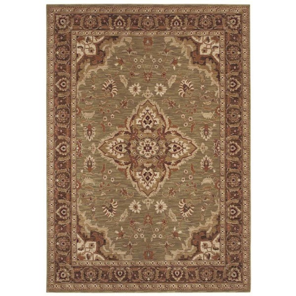 Tommy Bahama Home Rugs Light Green Port Royal Medallion Traditional Rug (7'9 x 10'10)