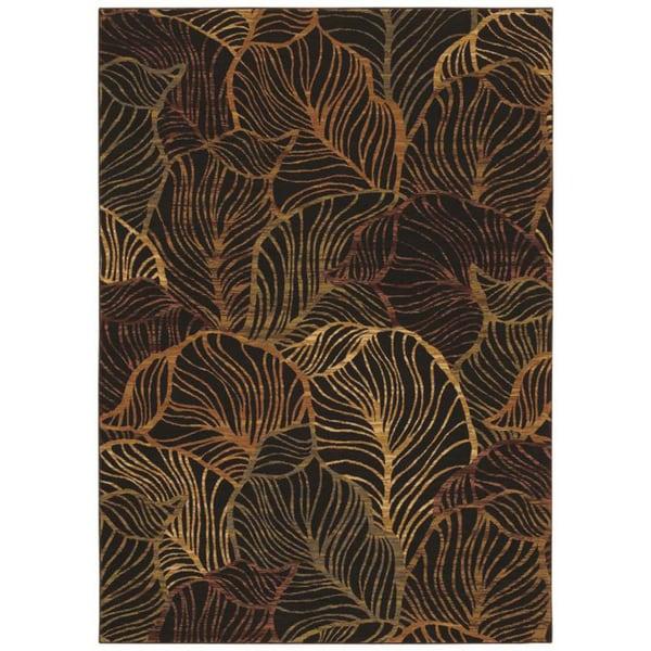 Tommy Bahama Black Sunset Palms Area Rug (5'5 x 7'9)