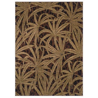 Tommy Bahama Brown Tossed Palm Area Rug (5'5 x 7'9)