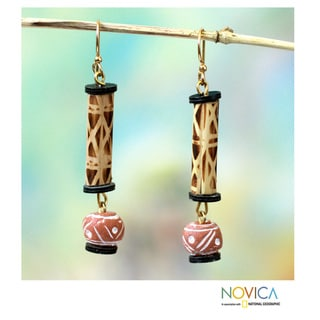 Handcrafted Bamboo and Terracotta 'Adwenepa' Earrings (Ghana)