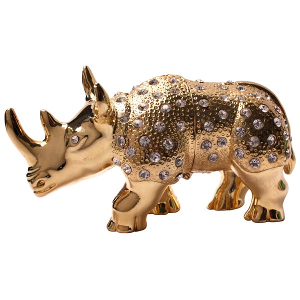 Cristiani Gold-plated Pewter with Crystals Rhino Trinket Pox