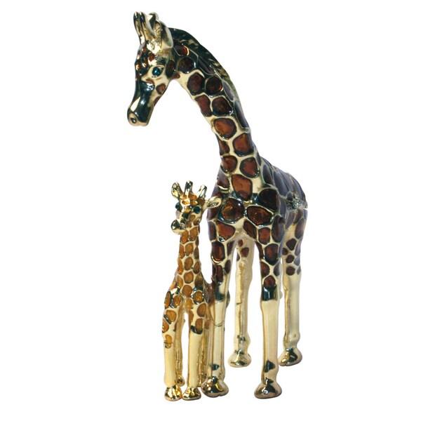 Cristiani Double Giraffe Pewter Trinket Box