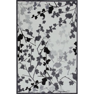 Transitional Floral Gray/Black Viscose/Chenille Rug (9' x 12')