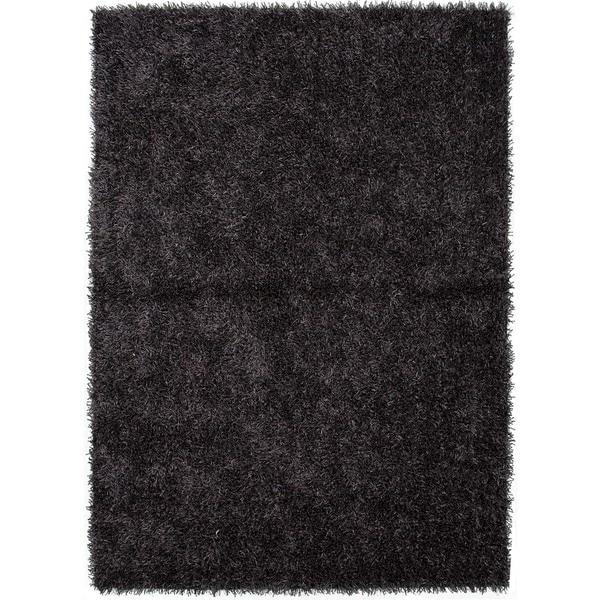 """Plush Gray/Black Solid Shag Rug (7'6"""" x 9'6"""")"""