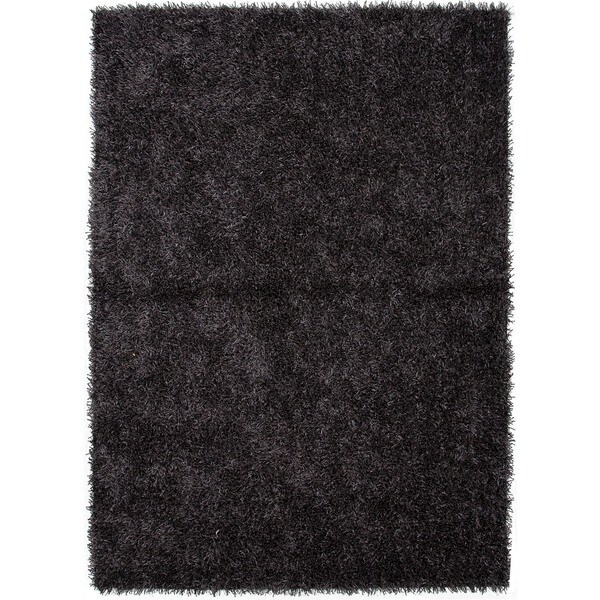 Handwoven Gray/ Black Solid Shag Rug (2' x 3')