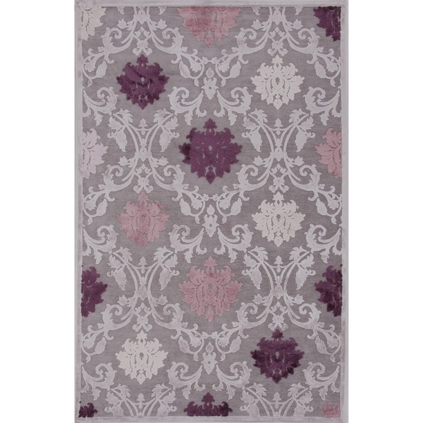 Transitional Pink/ Purple Viscose/ Chenille Rug (7'6 X 9'6