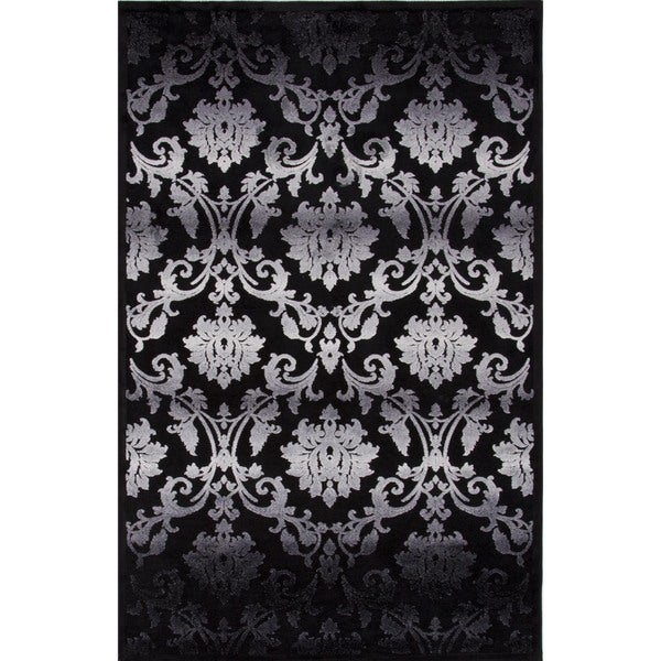 Ultra-Soft Transitional Gray/Black Viscose/Chenille Rug (9' x 12')