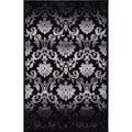 Transitional Gray/ Black Viscose/ Chenille Rug (5' x 7'6)