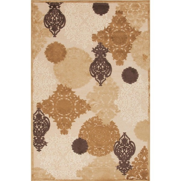 Transitional Beige/ Brown Viscose/ Chenille Rug (5' x 7'6)