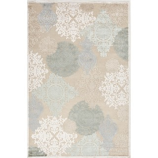 Transitional Floral Blue Viscose/ Chenille Rug (7'6 x 9'6)