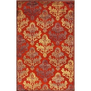 Transitional Red/Orange Viscose/Chenille Floral Rug (7'6 x 9'6)