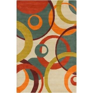 Allie Handmade Geometric Tan Wool Rug (5' x 7'6)