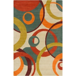 Allie Handmade Geometric Tan Wool Rug (5' x 7'6)
