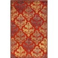 Transitional Red/ Orange Viscose/ Chenille Rug (2' x 3')