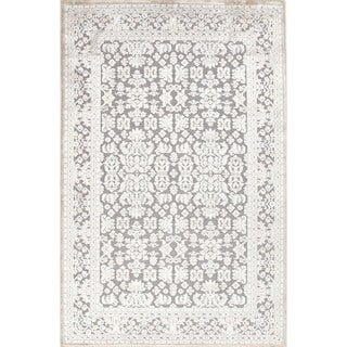 Transitional Oriental Blue Viscose/ Chenille Rug (9' x 12')