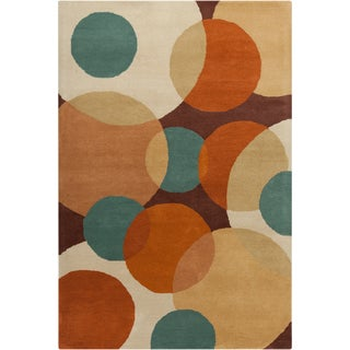 "Contemporary Allie Handmade Geometric Brown Wool Rug (5' x 7'6"")"