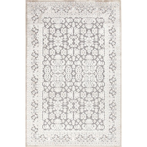 Transitional Oriental Blue Viscose/ Chenille Rug (5' x 7'6)
