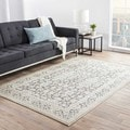 Transitional Oriental Blue Viscose/ Chenille Rug (2' x 3')