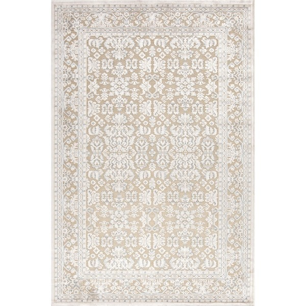 Transitional Ivory Viscose/ Chenille Rug (7'6 x 9'6)