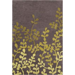Allie Handmade Floral Brown/Green Wool Rug (5' x 7'6)