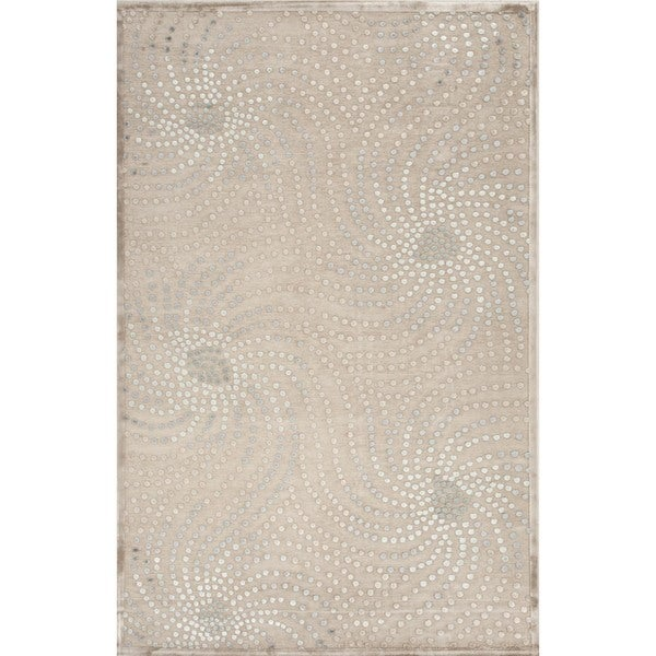 Transitional Abstract Blue Viscose/ Chenille Rug (9' x 12')