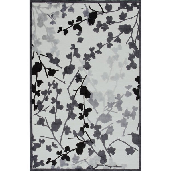 Transitional Gray Viscose/ Chenille Rug (5' x 7'6)