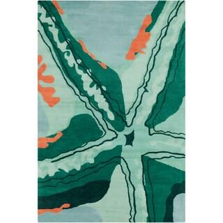 Allie Handmade Abstract Gren Wool Rug (5' x 7'6)