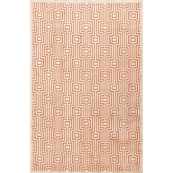 Modern Geometric Viscose/ Chenille Rug (5' x 7'6)