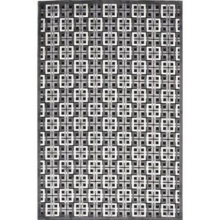 Modern Geometric Black Viscose/Chenille Rug (9' x 12')