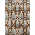 Alliyah Hand Made IKAT Brown Sugar New Zealand Wool Blend/ Viscose Silk Pile Rug (9x12)