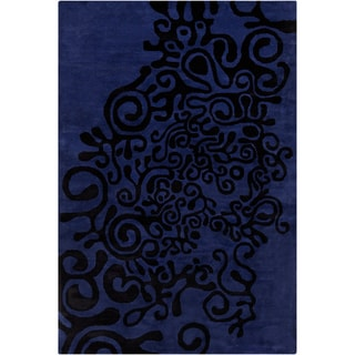 Allie Handmade Abstract Blue Wool Rug (5' x 7'6)
