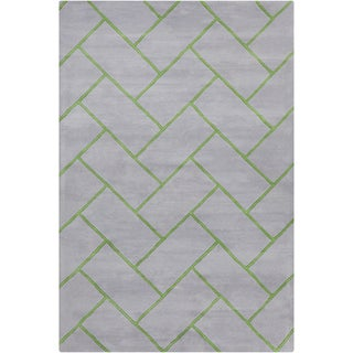 Allie Handmade Geometric Grey/Green Wool Rug (5' x 7'6)
