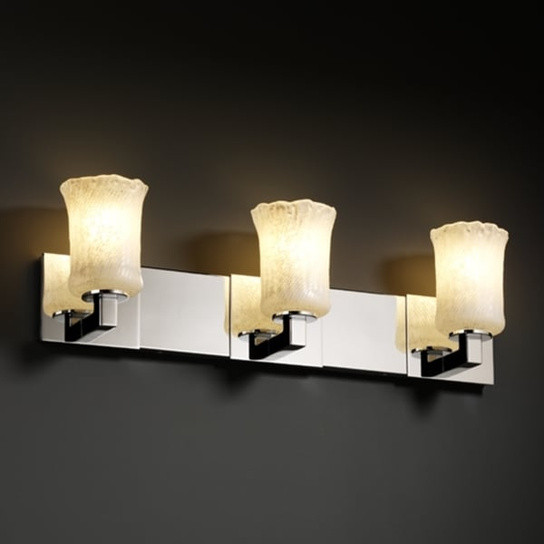 Justice Design Group 3-light Rippled Rim Chrome with White Washed Glass Vanity Fixture