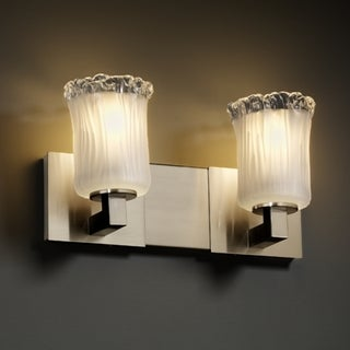 2-light Rippled Rim Brushed Nickel with Frosted Glass Vanity Fixture