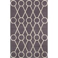 Allie Handmade Geometric Grey/Cream Wool Rug (5' x 7'6)