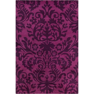 Allie Handmade Floral Purple Wool Rug (5' x 7'6)